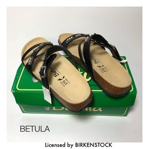 Betula Shoes - BETULA Black Embossed Leather Ruby Sandals NEW